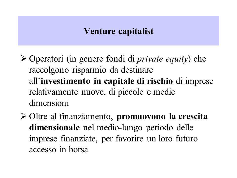 Venture capitalist Operatori (in genere fondi di private equity) che raccolgono risparmio da destinare allinvestimento in capitale di rischio di impre