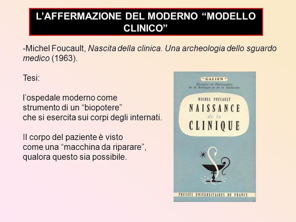 -Michel Foucault, Nascita della clinica. Una archeologia dello sguardo medico (1963). Tesi: lospedale moderno come strumento di un biopotere che si es