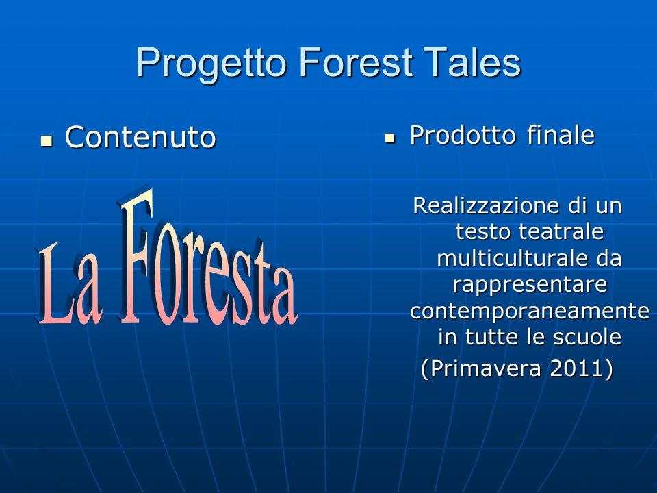 Progetto Forest Tales Contenuto Contenuto Prodotto finale Prodotto finale Realizzazione di un testo teatrale multiculturale da rappresentare contemporaneamente in tutte le scuole (Primavera 2011)