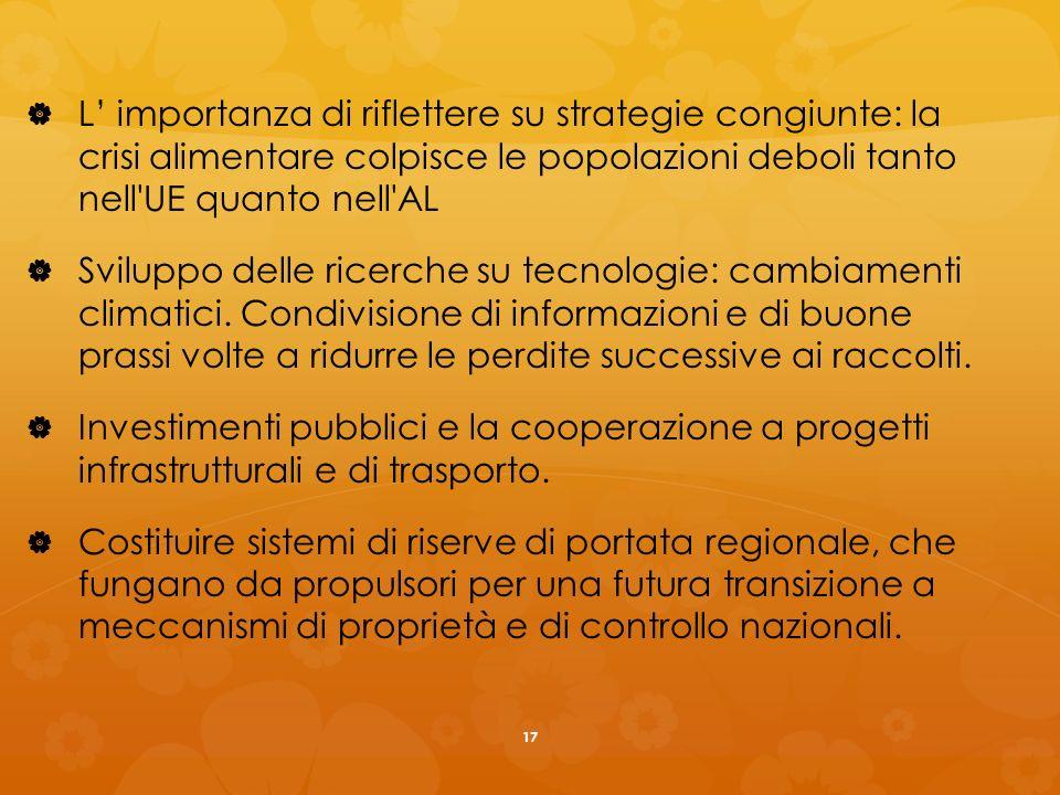 L importanza di riflettere su strategie congiunte: la crisi alimentare colpisce le popolazioni deboli tanto nell UE quanto nell AL Sviluppo delle ricerche su tecnologie: cambiamenti climatici.