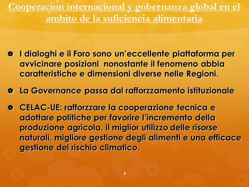 Cooperacion internacional y gobernanza global en el ambito de la suficiencia alimentaria I dialoghi e il Foro sono uneccellente piattaforma per avvicinare posizioni nonostante il fenomeno abbia caratteristiche e dimensioni diverse nelle Regioni.