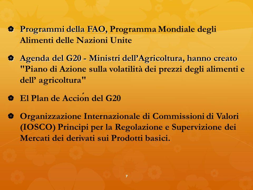 Programmi della FAO, Programmi della FAO, Programma Mondiale degli Alimenti delle Nazioni Unite Agenda del G20 - Ministri dellAgricoltura, hanno creato Agenda del G20 - Ministri dellAgricoltura, hanno creato Piano di Azione sulla volatilità dei prezzi degli alimenti e dell agricoltura El Plan de Accion del G20 Organizzazione Internazionale di Commissioni di Valori (IOSCO) Principi per la Regolazione e Supervizione dei Mercati dei derivati sui Prodotti basici.