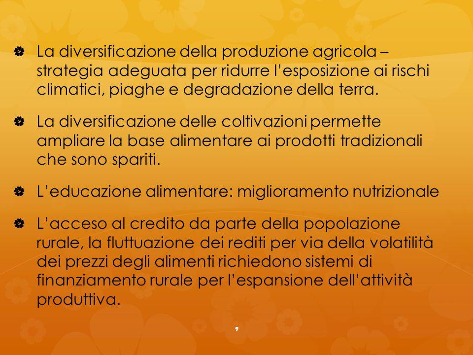 La diversificazione della produzione agricola – strategia adeguata per ridurre lesposizione ai rischi climatici, piaghe e degradazione della terra.