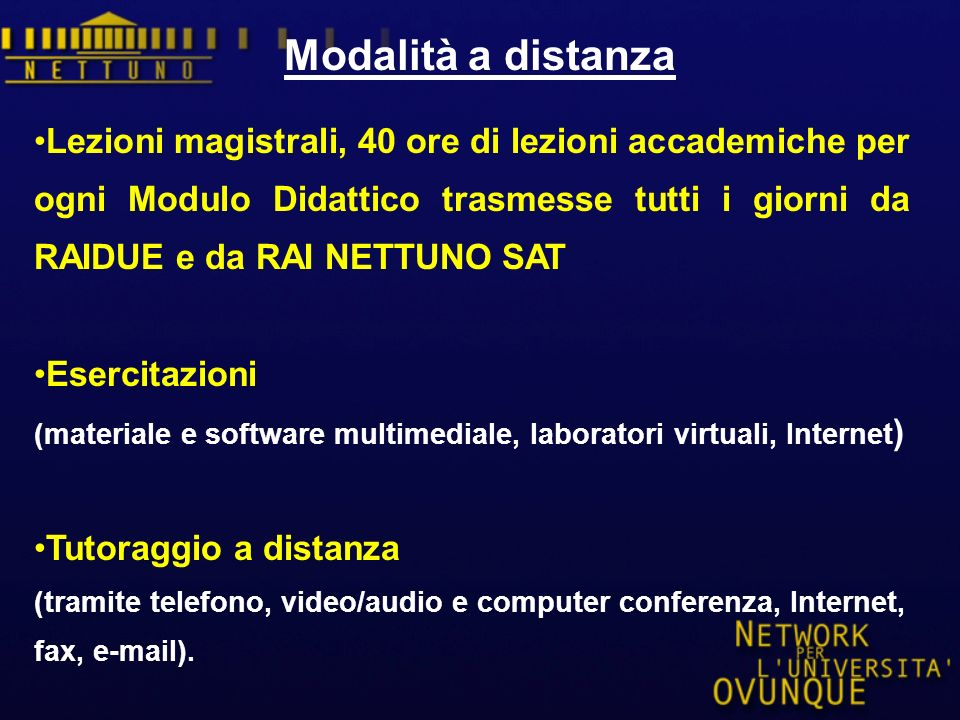 Lezioni magistrali, 40 ore di lezioni accademiche per ogni Modulo Didattico trasmesse tutti i giorni da RAIDUE e da RAI NETTUNO SAT Esercitazioni (materiale e software multimediale, laboratori virtuali, Internet ) Tutoraggio a distanza (tramite telefono, video/audio e computer conferenza, Internet, fax, e-mail).