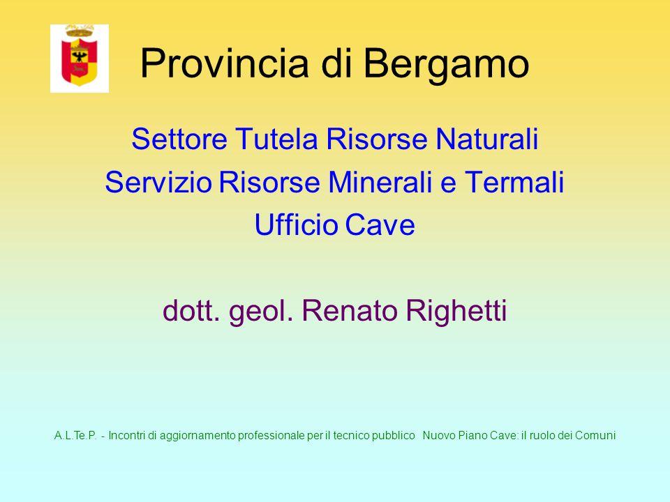 A.L.Te.P. - Incontri di aggiornamento professionale per il tecnico pubblico Nuovo Piano Cave: il ruolo dei Comuni Provincia di Bergamo Settore Tutela