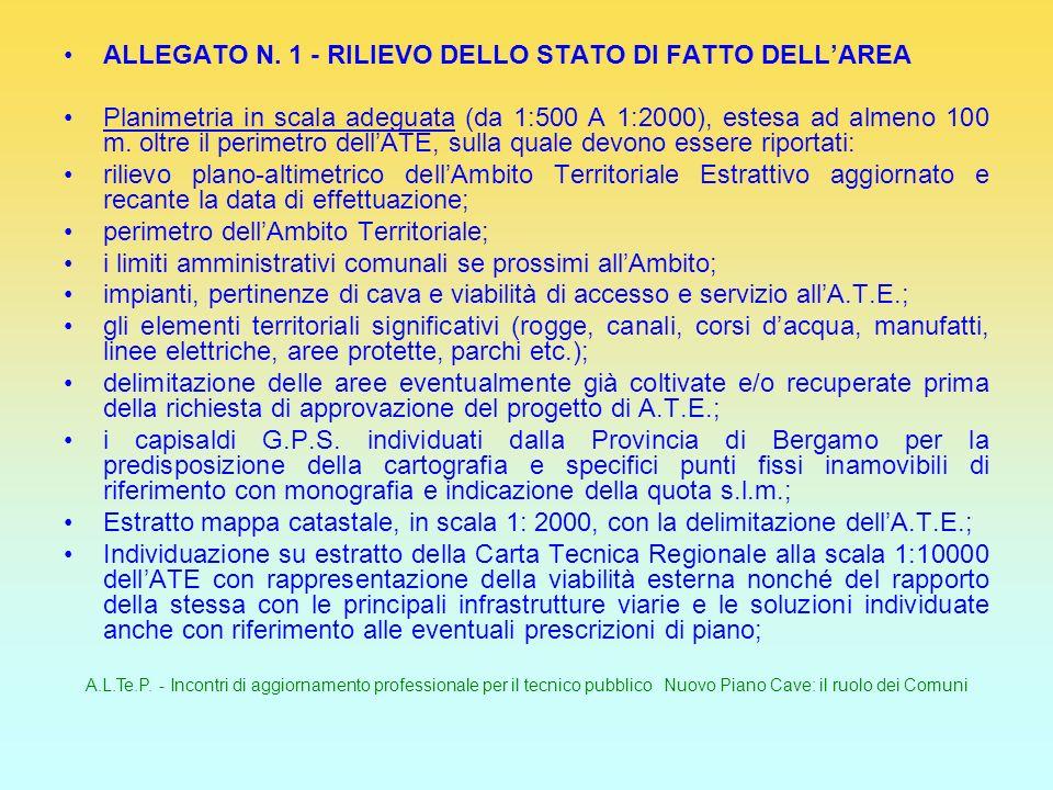 A.L.Te.P. - Incontri di aggiornamento professionale per il tecnico pubblico Nuovo Piano Cave: il ruolo dei Comuni ALLEGATO N. 1 - RILIEVO DELLO STATO