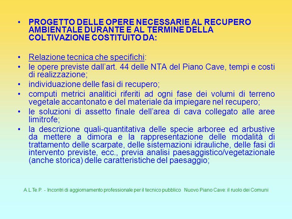 A.L.Te.P. - Incontri di aggiornamento professionale per il tecnico pubblico Nuovo Piano Cave: il ruolo dei Comuni PROGETTO DELLE OPERE NECESSARIE AL R