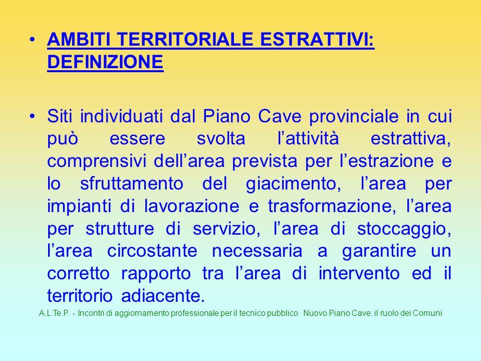 A.L.Te.P. - Incontri di aggiornamento professionale per il tecnico pubblico Nuovo Piano Cave: il ruolo dei Comuni AMBITI TERRITORIALE ESTRATTIVI: DEFI