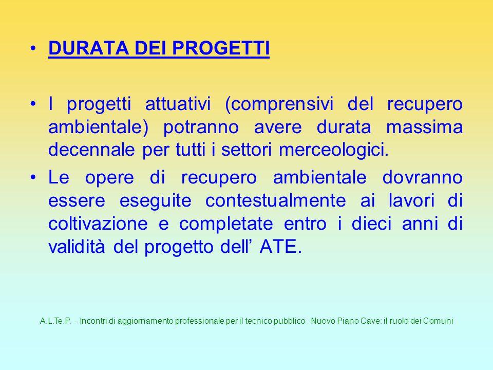 A.L.Te.P. - Incontri di aggiornamento professionale per il tecnico pubblico Nuovo Piano Cave: il ruolo dei Comuni DURATA DEI PROGETTI I progetti attua
