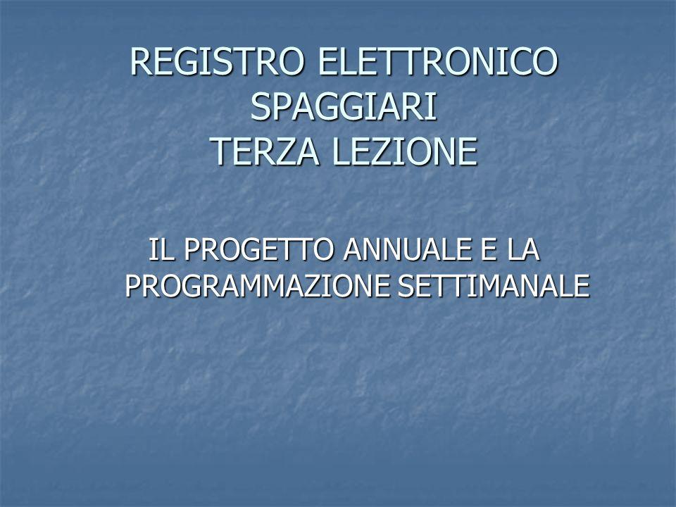REGISTRO ELETTRONICO SPAGGIARI TERZA LEZIONE IL PROGETTO ANNUALE E LA PROGRAMMAZIONE SETTIMANALE