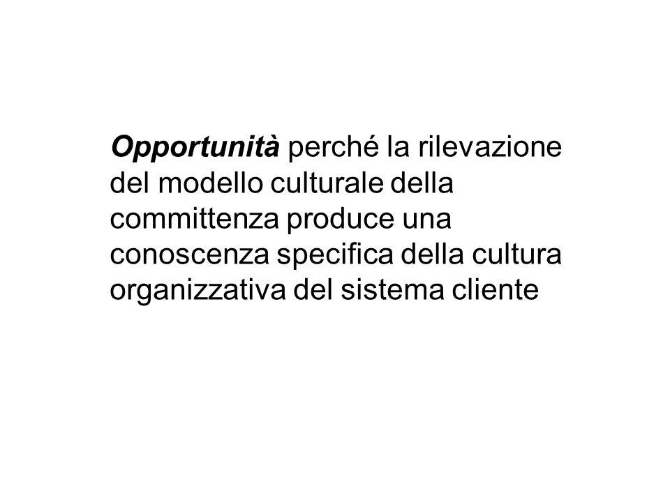 Opportunità perché la rilevazione del modello culturale della committenza produce una conoscenza specifica della cultura organizzativa del sistema cliente