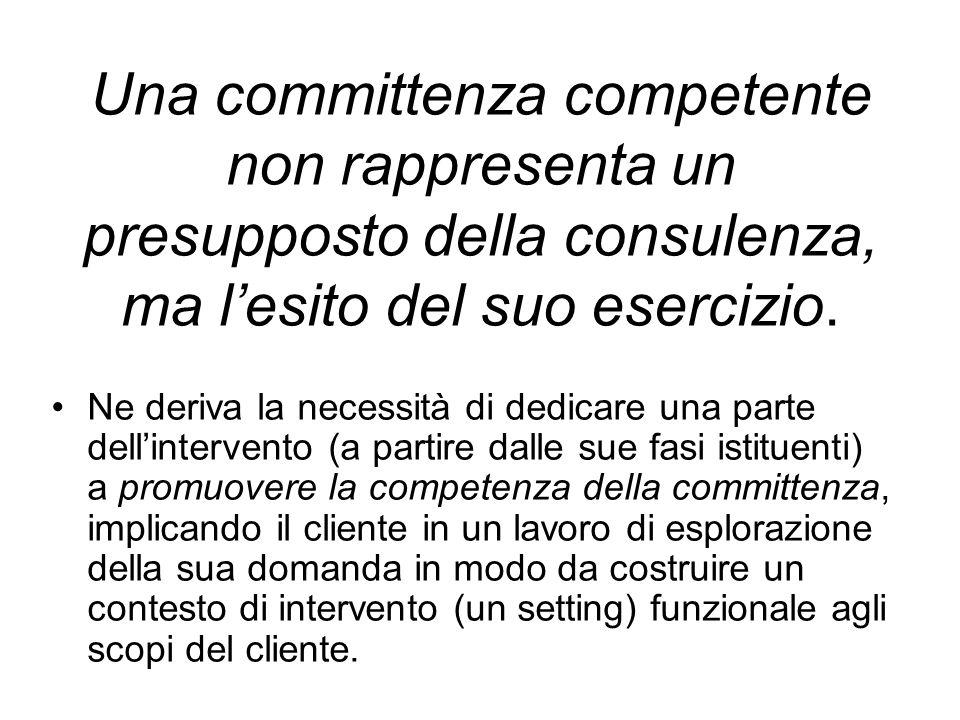 Una committenza competente non rappresenta un presupposto della consulenza, ma lesito del suo esercizio.