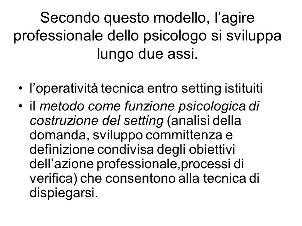 Secondo questo modello, lagire professionale dello psicologo si sviluppa lungo due assi.