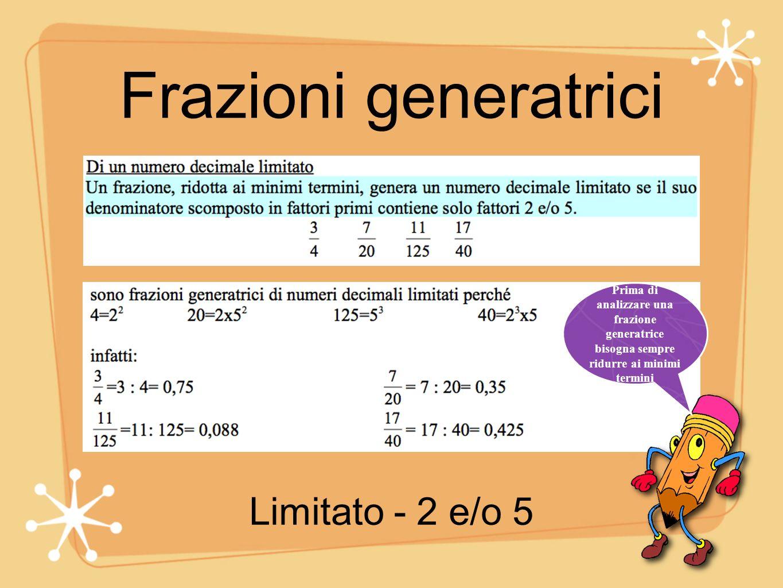 Frazioni generatrici Prima di analizzare una frazione generatrice bisogna sempre ridurre ai minimi termini Periodico semplice - altri fattori