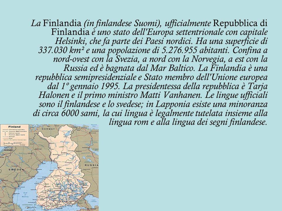 La Finlandia (in finlandese Suomi), ufficialmente Repubblica di Finlandia è uno stato dell'Europa settentrionale con capitale Helsinki, che fa parte d
