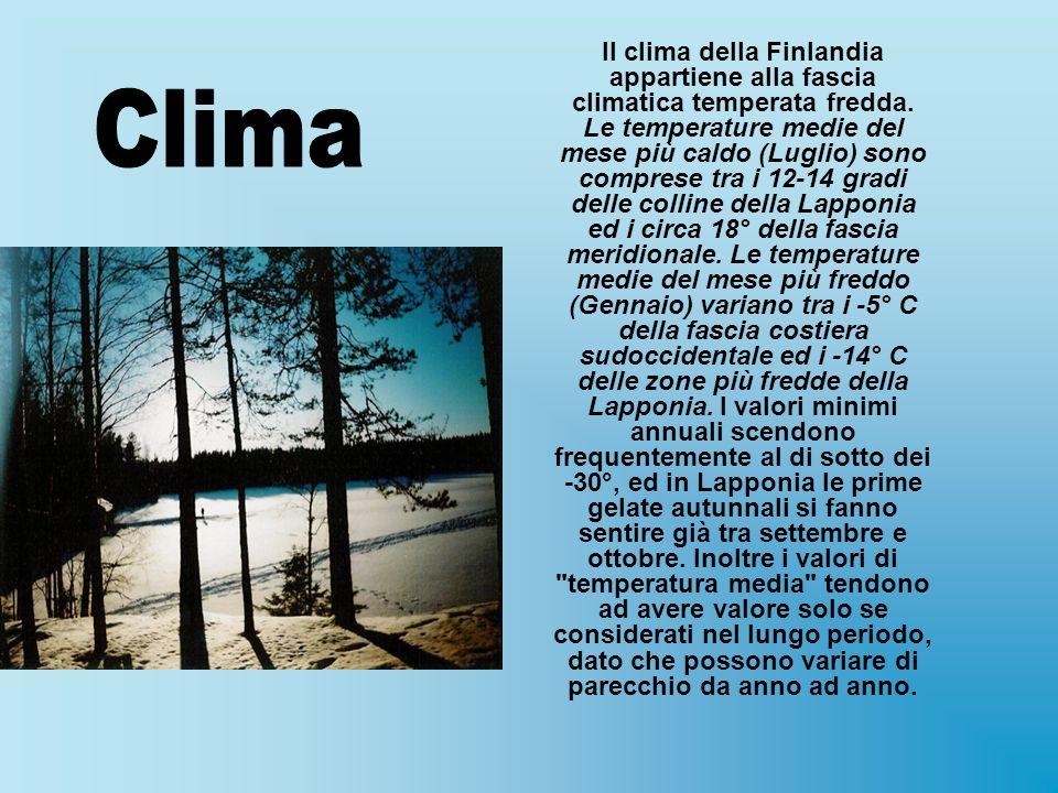 Il clima della Finlandia appartiene alla fascia climatica temperata fredda. Le temperature medie del mese più caldo (Luglio) sono comprese tra i 12-14