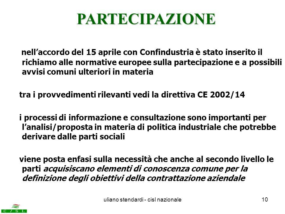 uliano stendardi - cisl nazionale10 nellaccordo del 15 aprile con Confindustria è stato inserito il richiamo alle normative europee sulla partecipazio