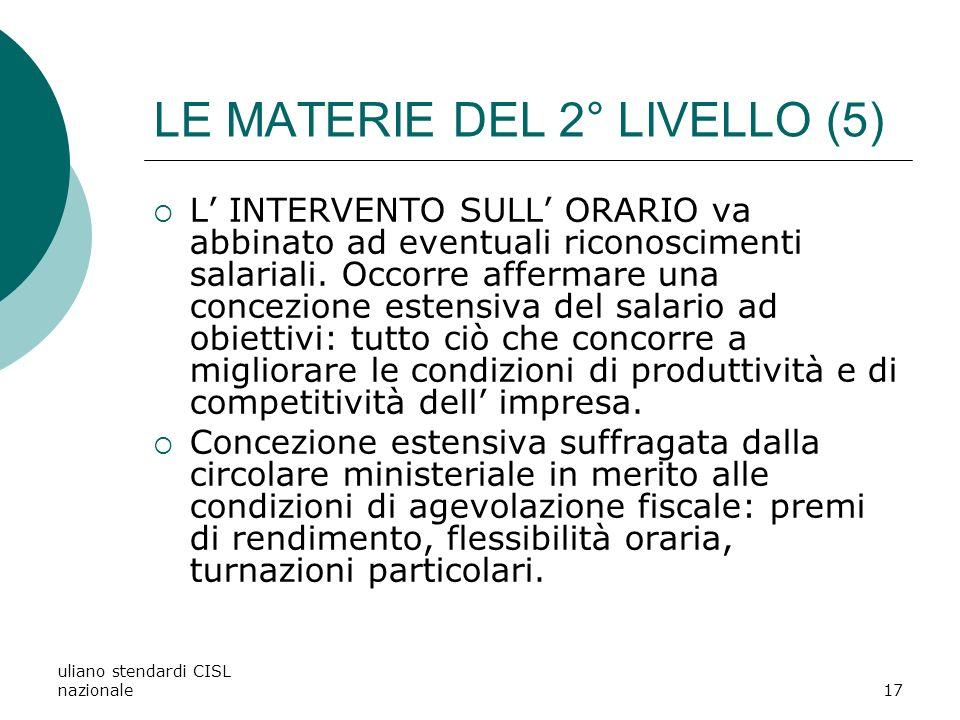 uliano stendardi CISL nazionale17 LE MATERIE DEL 2° LIVELLO (5) L INTERVENTO SULL ORARIO va abbinato ad eventuali riconoscimenti salariali.