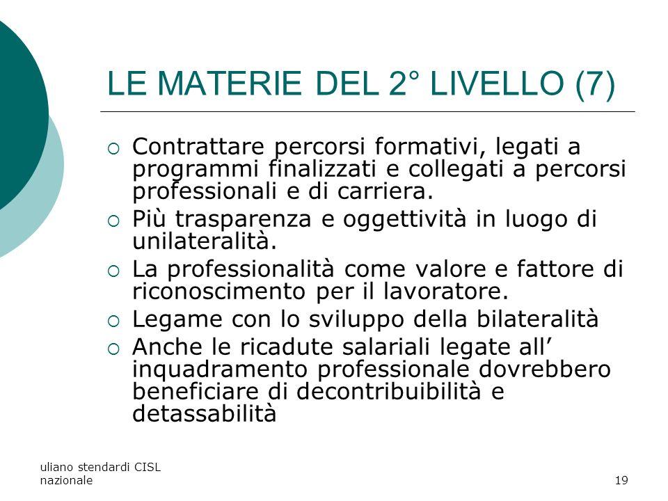 uliano stendardi CISL nazionale19 LE MATERIE DEL 2° LIVELLO (7) Contrattare percorsi formativi, legati a programmi finalizzati e collegati a percorsi professionali e di carriera.