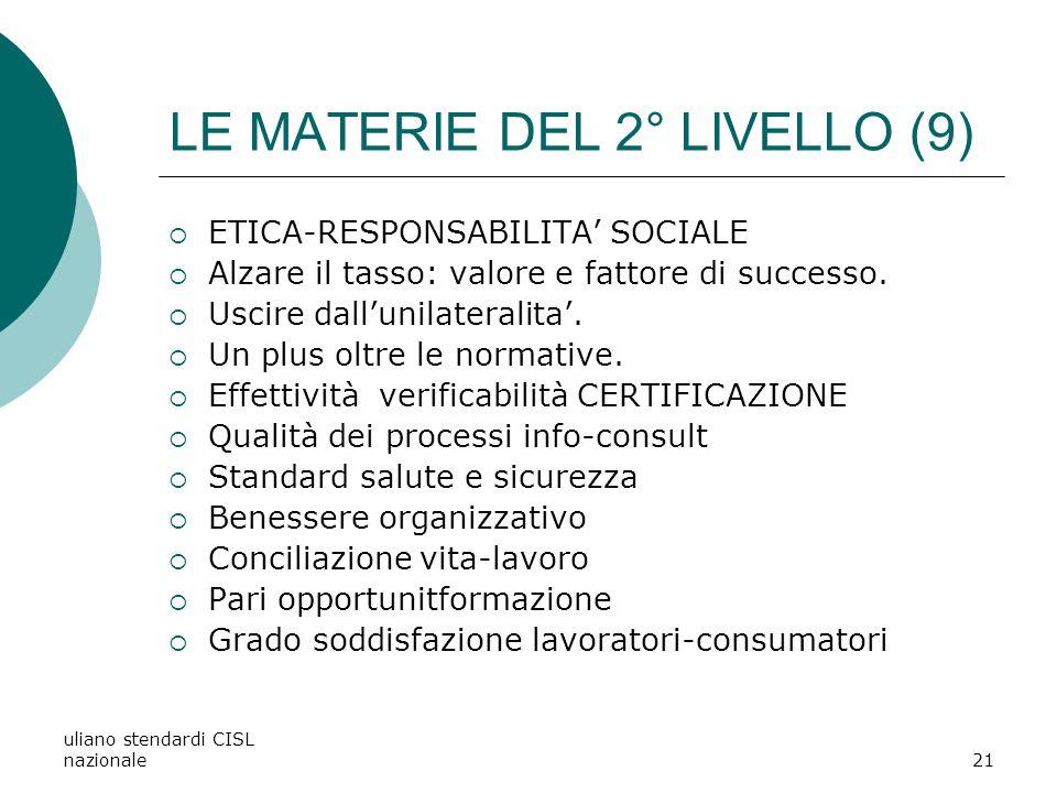 uliano stendardi CISL nazionale21 LE MATERIE DEL 2° LIVELLO (9) ETICA-RESPONSABILITA SOCIALE Alzare il tasso: valore e fattore di successo.