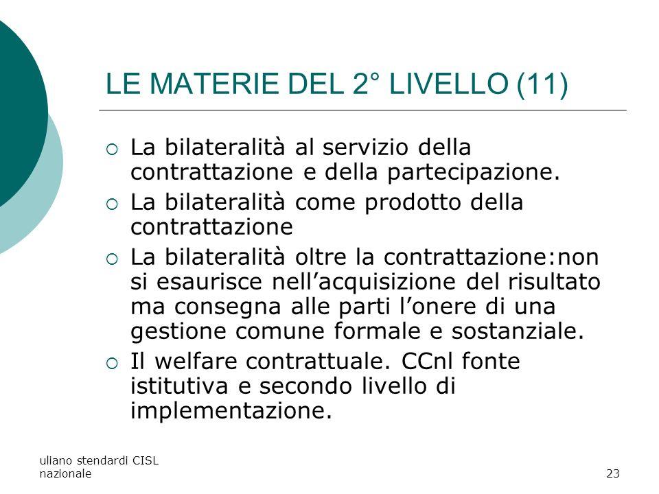 uliano stendardi CISL nazionale23 LE MATERIE DEL 2° LIVELLO (11) La bilateralità al servizio della contrattazione e della partecipazione.