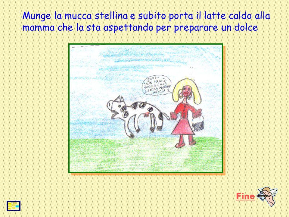 Entra nel recinto dei cavalli dove cè la sua dolce cavalla Gelsomina: la pulisce, la striglia, la pettina e decide di fare una cavalcata con lei quando la mamma la chiama perchè è pronta la merenda.