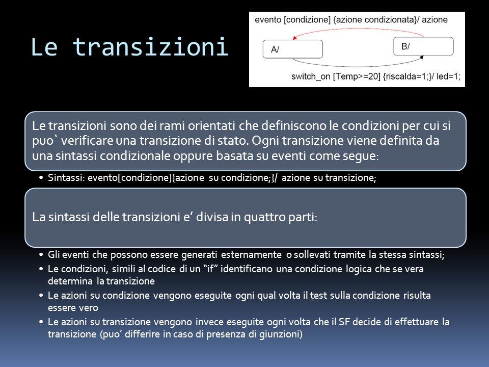 Le transizioni Le transizioni sono dei rami orientati che definiscono le condizioni per cui si puo` verificare una transizione di stato. Ogni transizi