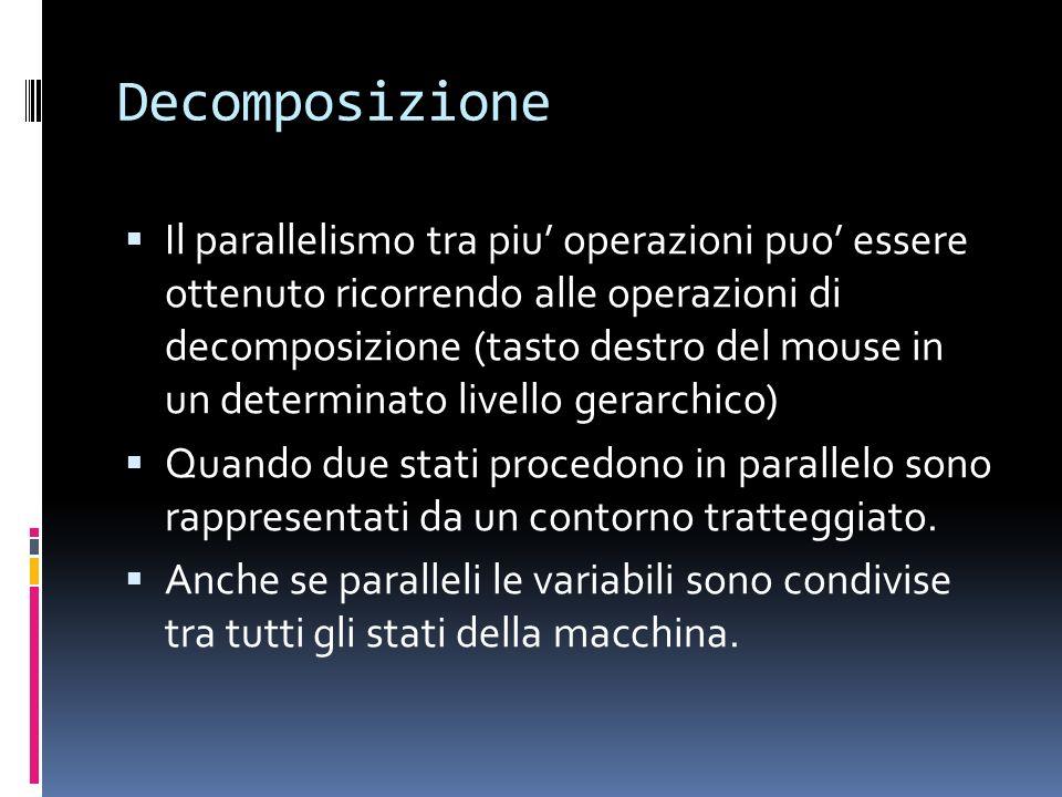 Decomposizione Il parallelismo tra piu operazioni puo essere ottenuto ricorrendo alle operazioni di decomposizione (tasto destro del mouse in un deter