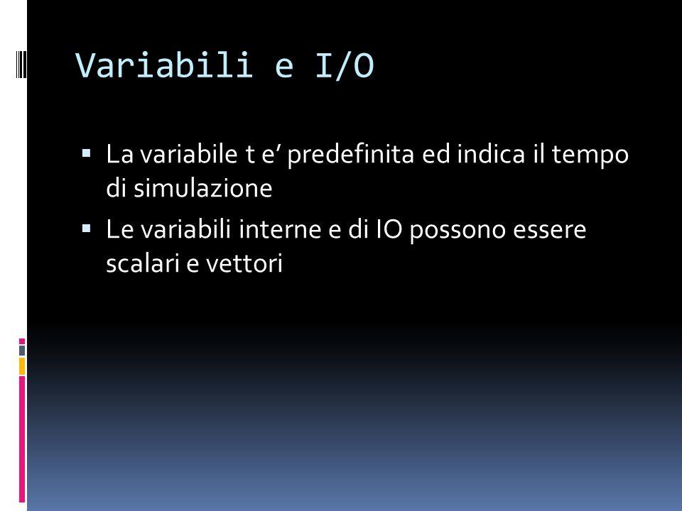 Variabili e I/O La variabile t e predefinita ed indica il tempo di simulazione Le variabili interne e di IO possono essere scalari e vettori