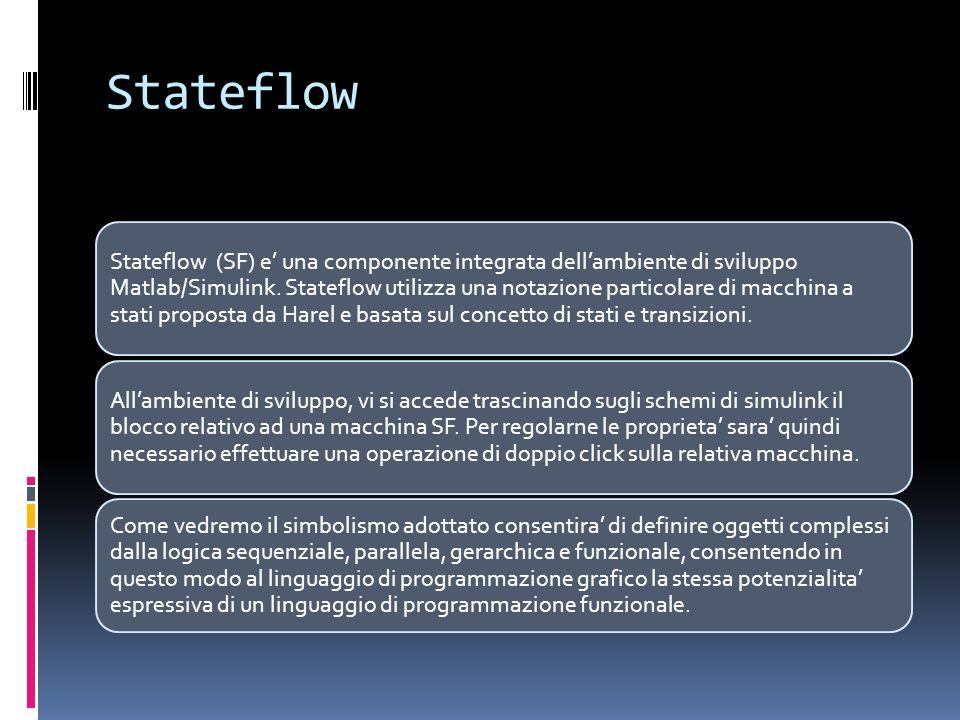 Stateflow Stateflow (SF) e una componente integrata dellambiente di sviluppo Matlab/Simulink. Stateflow utilizza una notazione particolare di macchina