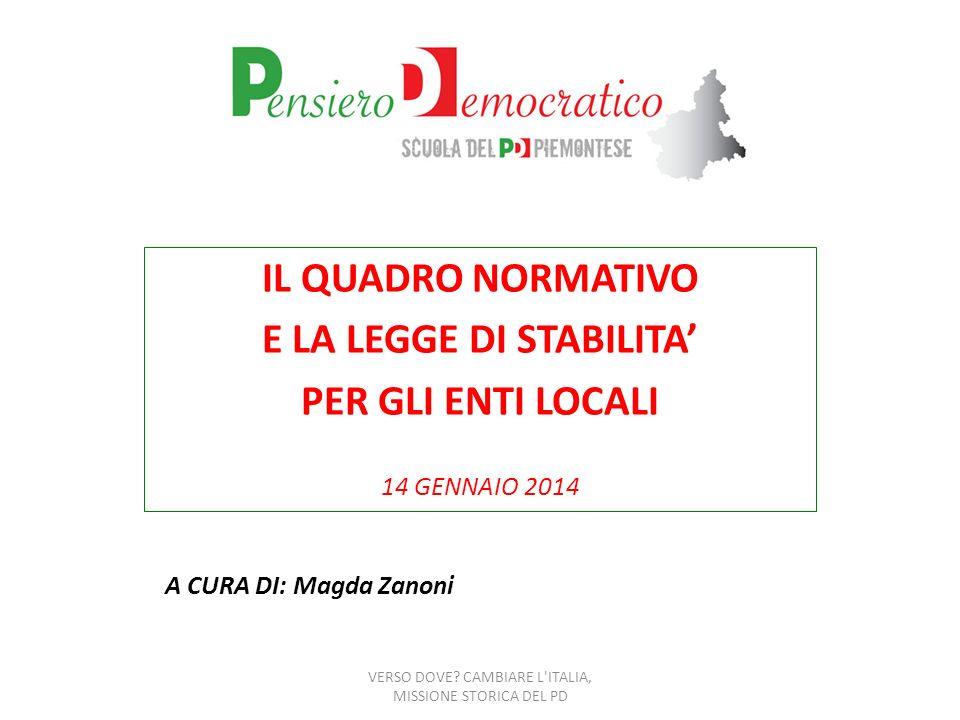 LA LEGGE DI STABILITA PER IL 2014 n.147/2013
