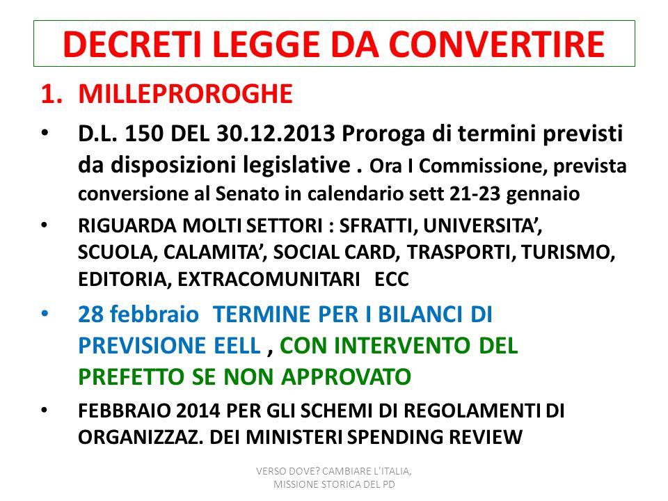 DECRETI LEGGE DA CONVERTIRE 1.MILLEPROROGHE D.L. 150 DEL 30.12.2013 Proroga di termini previsti da disposizioni legislative. Ora I Commissione, previs