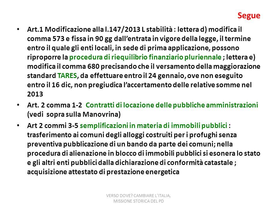 Segue Art.1 Modificazione alla l.147/2013 L stabilità : lettera d) modifica il comma 573 e fissa in 90 gg dallentrata in vigore della legge, il termin
