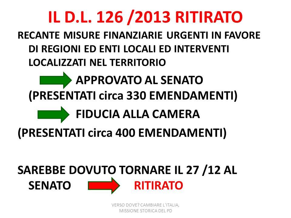 IL D.L. 126 /2013 RITIRATO RECANTE MISURE FINANZIARIE URGENTI IN FAVORE DI REGIONI ED ENTI LOCALI ED INTERVENTI LOCALIZZATI NEL TERRITORIO APPROVATO A