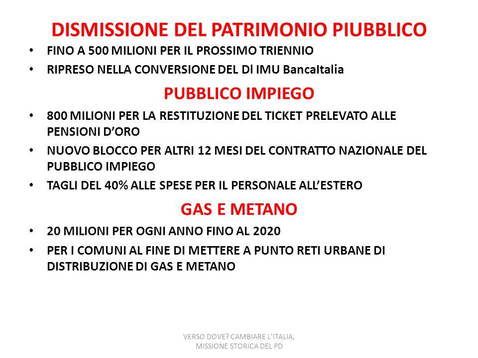 DISMISSIONE DEL PATRIMONIO PIUBBLICO FINO A 500 MILIONI PER IL PROSSIMO TRIENNIO RIPRESO NELLA CONVERSIONE DEL Dl IMU BancaItalia PUBBLICO IMPIEGO 800