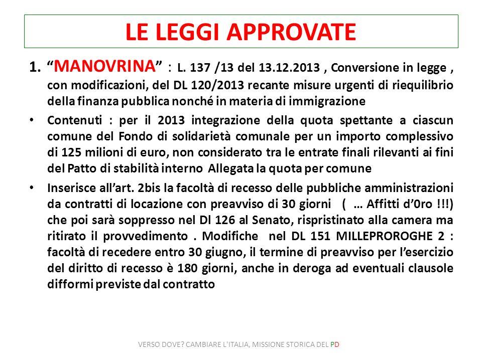 LE LEGGI APPROVATE 1. MANOVRINA : L. 137 /13 del 13.12.2013, Conversione in legge, con modificazioni, del DL 120/2013 recante misure urgenti di riequi