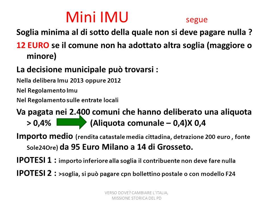 Mini IMU segue Soglia minima al di sotto della quale non si deve pagare nulla ? 12 EURO se il comune non ha adottato altra soglia (maggiore o minore)