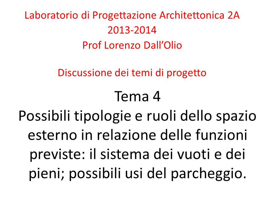 Tema 4 Possibili tipologie e ruoli dello spazio esterno in relazione delle funzioni previste: il sistema dei vuoti e dei pieni; possibili usi del parcheggio.