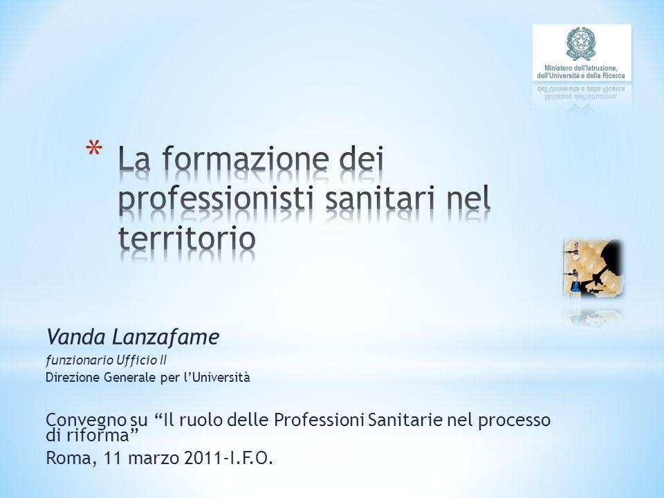 Vanda Lanzafame funzionario Ufficio II Direzione Generale per lUniversità Convegno su Il ruolo delle Professioni Sanitarie nel processo di riforma Roma, 11 marzo 2011-I.F.O.