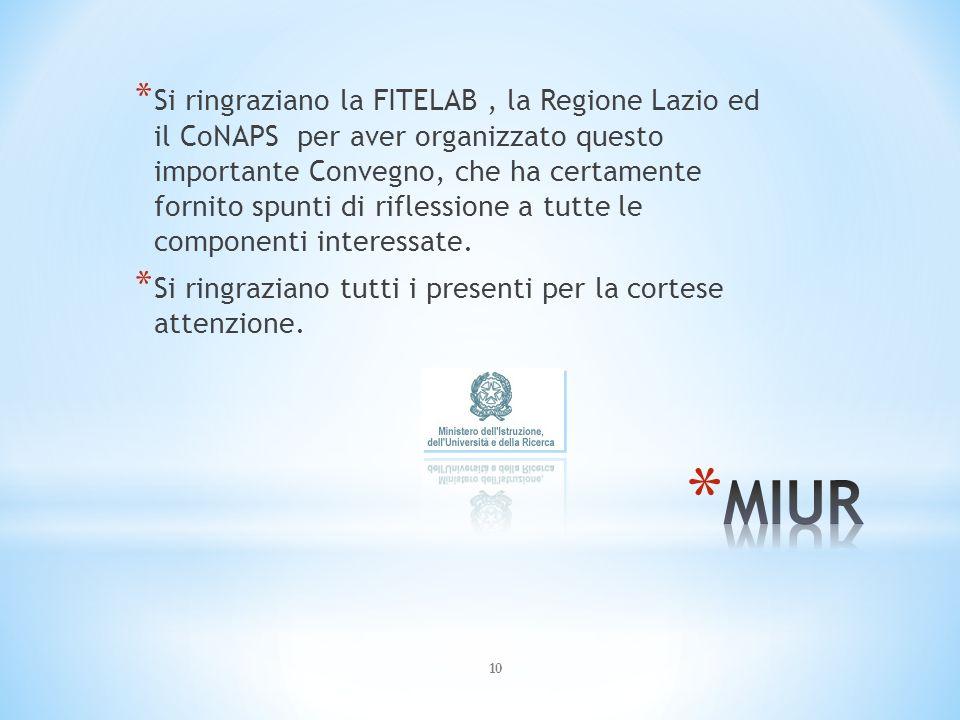 10 * Si ringraziano la FITELAB, la Regione Lazio ed il CoNAPS per aver organizzato questo importante Convegno, che ha certamente fornito spunti di riflessione a tutte le componenti interessate.