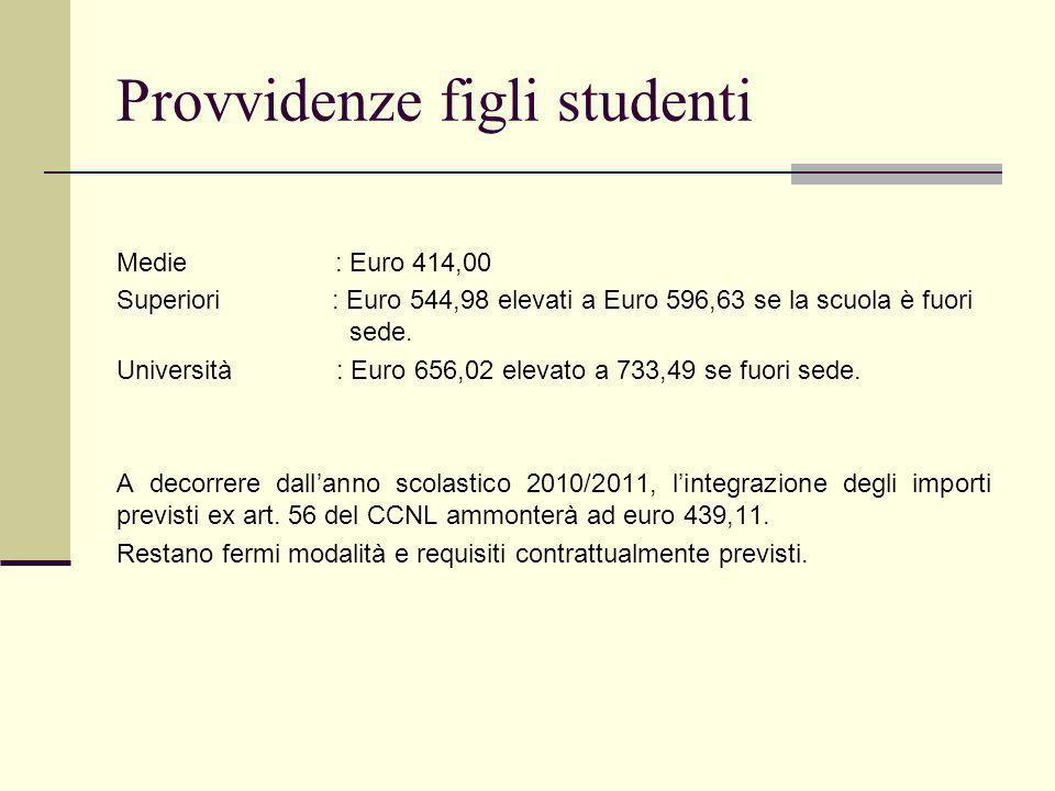 Provvidenze figli studenti Medie : Euro 414,00 Superiori : Euro 544,98 elevati a Euro 596,63 se la scuola è fuori sede.