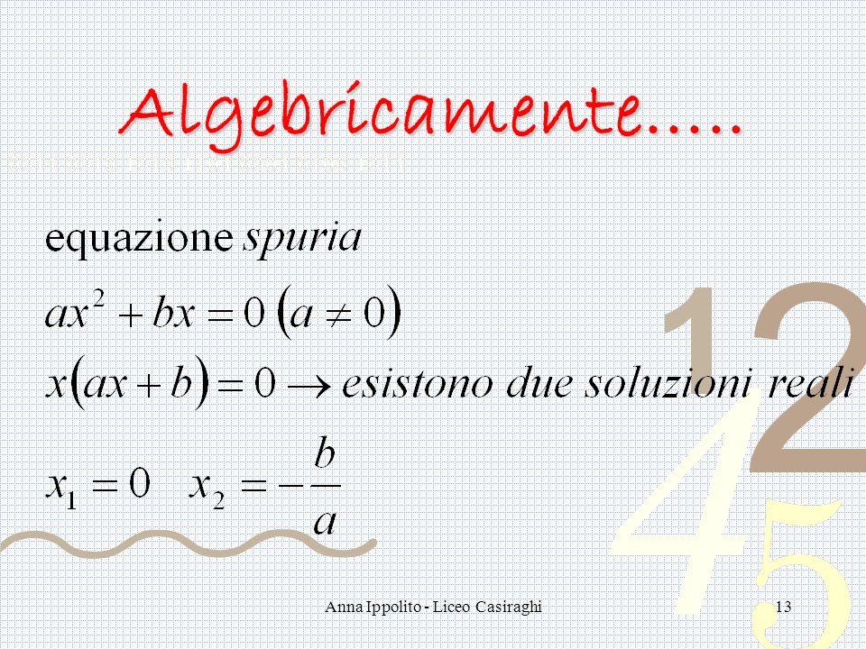 Anna Ippolito - Liceo Casiraghi13 Algebricamente…..