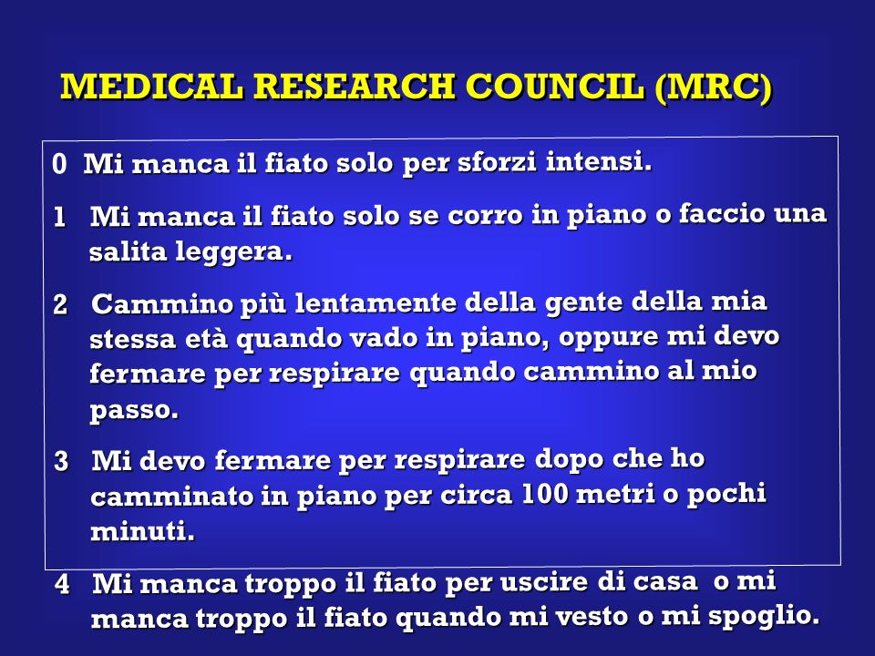 MEDICAL RESEARCH COUNCIL (MRC) Mi manca il fiato solo per sforzi intensi. 0 Mi manca il fiato solo per sforzi intensi. 1 Mi manca il fiato solo se cor