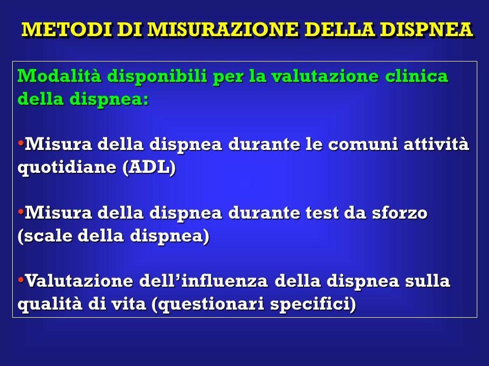 METODIDI MISURAZIONE DELLA DISPNEA METODI DI MISURAZIONE DELLA DISPNEA Modalità disponibili per la valutazione clinica della dispnea: Misura della dis