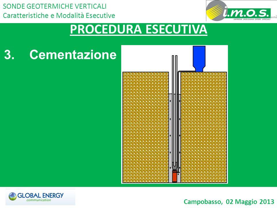 PROCEDURA ESECUTIVA 3. Cementazione SONDE GEOTERMICHE VERTICALI Caratteristiche e Modalità Esecutive Campobasso, 02 Maggio 2013