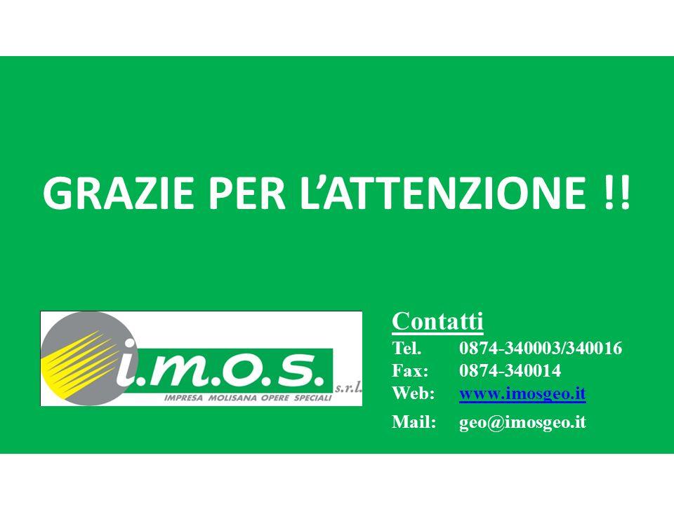 GRAZIE PER LATTENZIONE !! Contatti Tel.0874-340003/340016 Fax: 0874-340014 Web:www.imosgeo.itwww.imosgeo.it Mail: geo@imosgeo.it