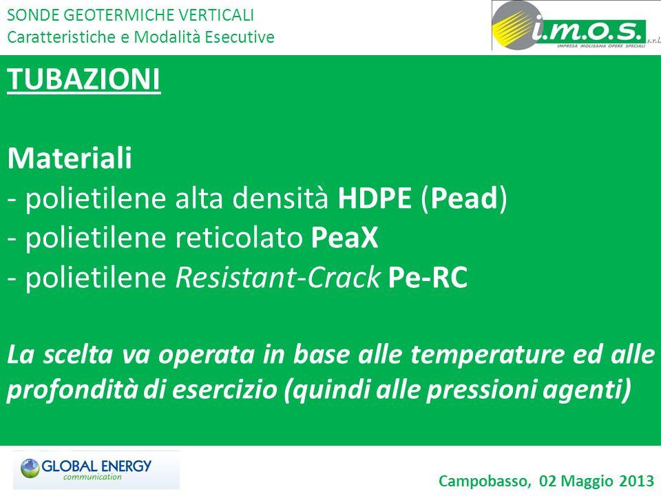TUBAZIONI Materiali - polietilene alta densità HDPE (Pead) - polietilene reticolato PeaX - polietilene Resistant-Crack Pe-RC La scelta va operata in b