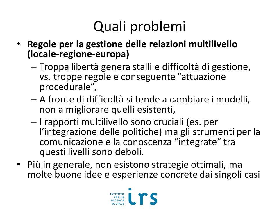 Quali problemi Regole per la gestione delle relazioni multilivello (locale-regione-europa) – Troppa libertà genera stalli e difficoltà di gestione, vs.