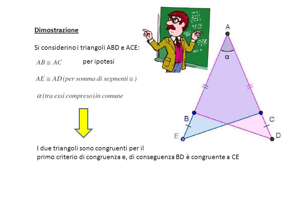 Dimostrazione Si considerino i triangoli ABD e ACE: per ipotesi I due triangoli sono congruenti per il primo criterio di congruenza e, di conseguenza BD è congruente a CE