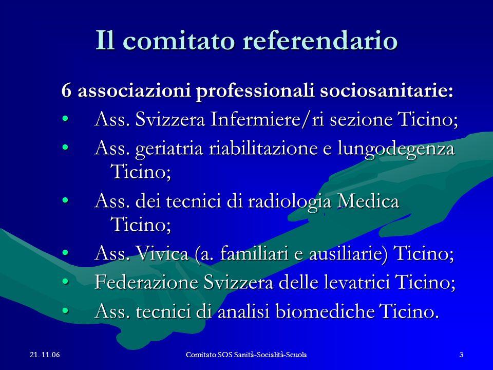 21. 11.06Comitato SOS Sanità-Socialità-Scuola3 Il comitato referendario 6 associazioni professionali sociosanitarie: Ass. Svizzera Infermiere/ri sezio